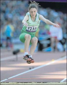 Heather Jameson, from Garristown competes in the long jump - T37 final.