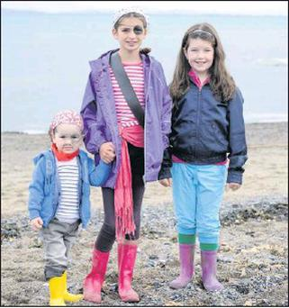 Lucas Finn, Sophie Finn and Andrea Whelan at the Pirates Day on Portane Beach.