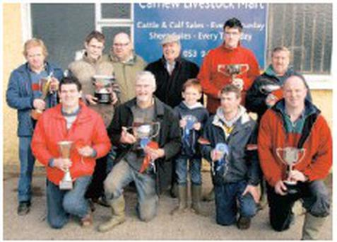 Prizewinners (back, from left), Patrick, Aaron and Pat Whelan (overall champions), Arthur Quinn, Padraic Whelan (champion winner) and Leslie Dixon. Front: Peter Behan, John Sheridan, Adam Quinn, John Byrne and Norman Spencer.