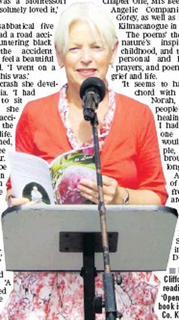 Norah Clifford Kelly reading from her 'Open To Love' book in Listowel in Co. Kerry recently.