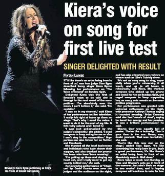 Gorey's Kiera Byrne performing on RTE'S The Voice of Ireland last Sunday.