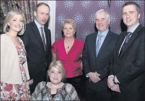 At the 30th-year celebration dinner for Dáil deputy John Browne was The Browne family with party leader Michael Martin. (From left): Caitriona Browne, Michael Martin, Judy and Judy, John and James Browne.