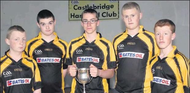 The Castlebridge handball team which won the All-Ireland 60 x 30 Féile title (from left): Finn Lyons, Tomás Hall, Michael Lawlor, Jason Dilworth and Adam Hanrahan.