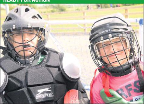 Ross Wallace and Gavin Cousins were ready for action at the Gorey Hockey Club summer camp at the Courtown HIbs grounds.