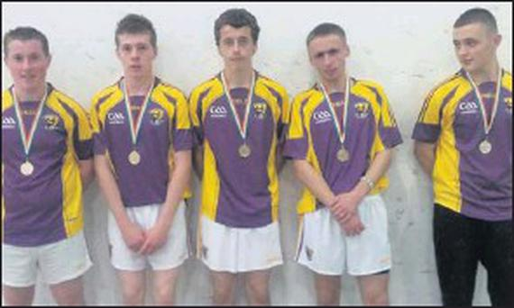The Wexford squad complete with their All-Ireland medals.