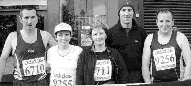 Kerry competitors in Monday?s Dublin City Marathon were, from left: Tom Barrett, Siobhan Brown, Helen Barrett, Chris Larkin and Freddie Brown.