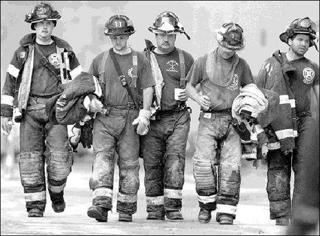 Firefighting crews, who put their lives on the line during the Twin Towers disaster in New York.