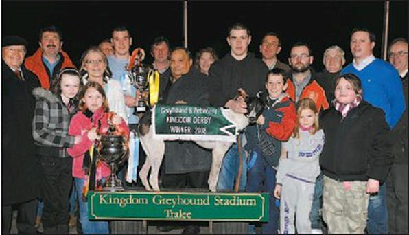 Owner Shane Dowling, left of picture, accepts the winning trophy from sponsors Kathleen Murphy and Dominic Magnone of Greyhound & Pet World after Ballymac Bull won the 2008 Greyhound & Pet World Kingdom Derby Final at the Kingdom Greyhound Stadium... Credit: PICTURE: DENIS WALSH