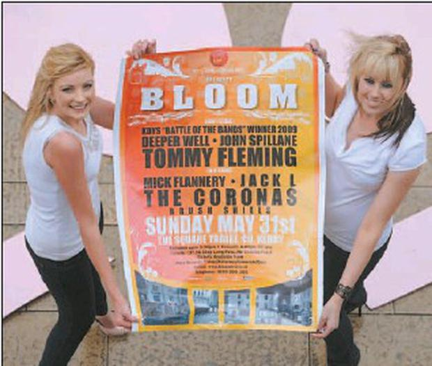 Tralee models Genevieve Keane and Sophie Casey launching the 'Bloom' concert to be held in The Square in Tralee on Sunday May 31 featuring eight bands on two stages. Credit: Picture: Domnick Walsh