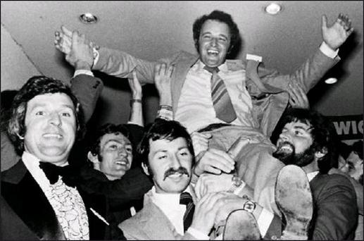 The International Bachlor Festival in Ballybunion reached a climax with the selection of Army Private John Dillon from Kildare as the 1979 International Bachelor. Kevin Coleman's photograph shows a happy John being hoisted in the air by his fellow...