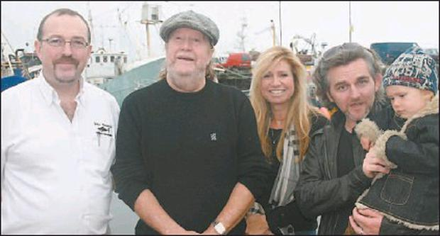 John Benny Moriarty (left) with Beatles Anthology Director Jeff Wonfor, writer Diane Namm and artistic director of the Dingle Film Festival Maurice Galway with his daughter Lila in Dingle on Tuesday. Credit: Photo by Ted Creedon