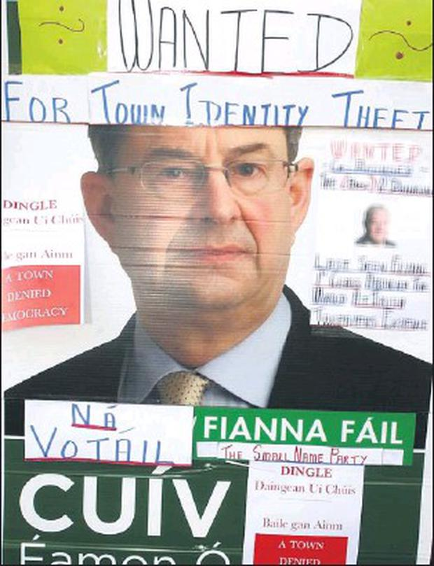 This pre election poster was put on view in the window of McKenna's drapery on Dingle's Main street at the weekend. Credit: Photo by Ted Creedon