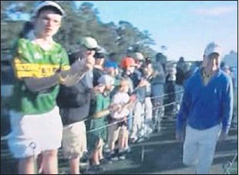 Causing a stir in the Geen and Gold: The mystery man in a Kerry jersey who attracted world attention at the US Golf Masters in Augusta at the weekend.