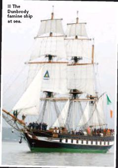 The Dunbrody famine ship at sea.