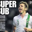 Kevin Doyle celebrates after scoring the winner for Ireland against Kazakhstan in the World Cup qualifier game last Friday.