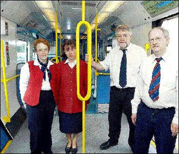 Sligo Railway Station staff pictured on one of the new trains to be used on the Sligo Dublin Line. (L-R), Ann Carney, Catherine McDonagh, Jim Doherty, Station Master and Tony Mulligan.