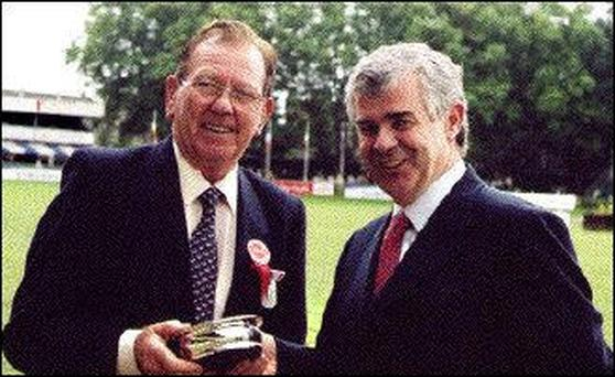 Sligo Showjumper Frank McGarry honoured by the Royal Dublin Society at the Horse Show from 4th - 8th August 2004 in grateful appreciation for his involvement with the R.D.S. for over 50 years.