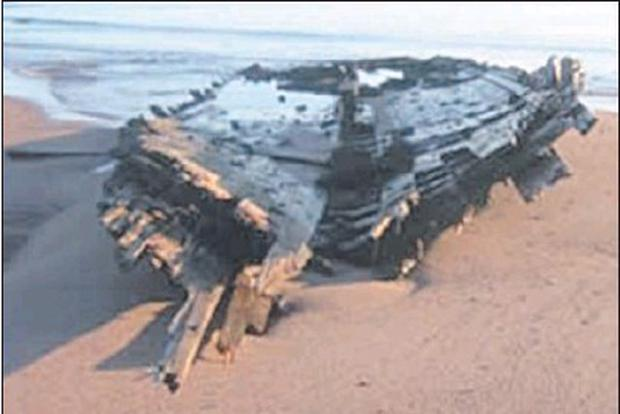 Hull of the Famine ship Carrick of Whitehaven wrecked at Cap de Rosier and beached at Blanc Sablon. Credit: Photo: courtesy of Brian Burke
