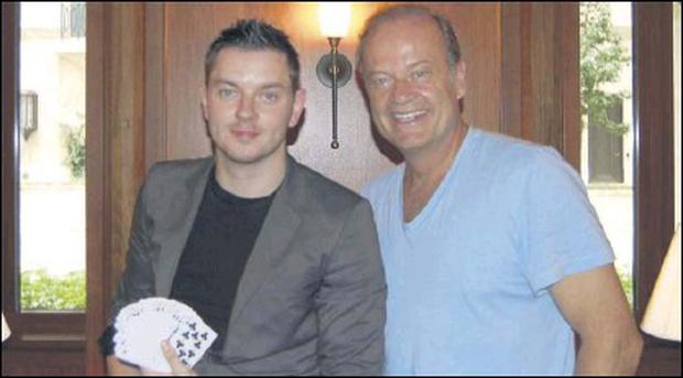 Hollywood actor Kelsey Grammar, right, with rising Sligo magician Shane Gillen.