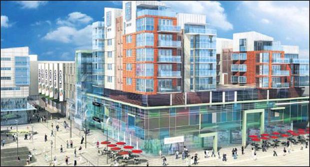 A computerised rendering of how the new Town Centre retail complex will transform the Wine Street car park area.