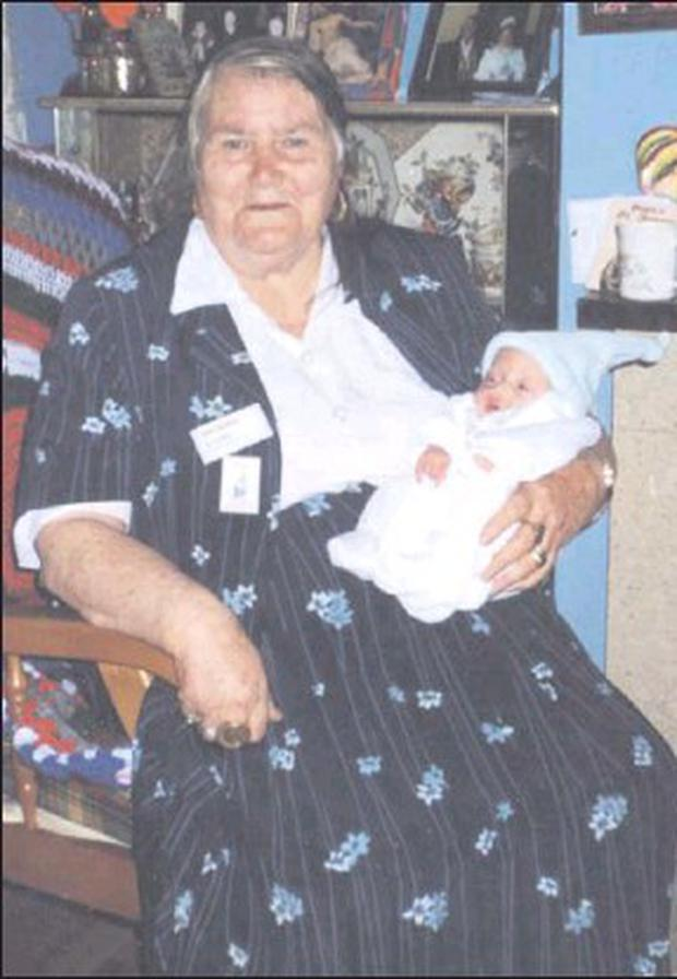 The late Nan Ward, RIP, with her great-grandson Charlie.
