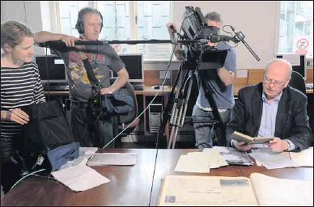 Former Justice Minister Michael McDowell pictured at Sligo Library during the making of a new documentary for RTE about the Noble Six.