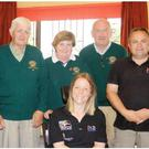 Members of the Wicklow Lions Club with disabled sailor Hilary Lister at a presentation in Arklow Sailing Club in 2009.
