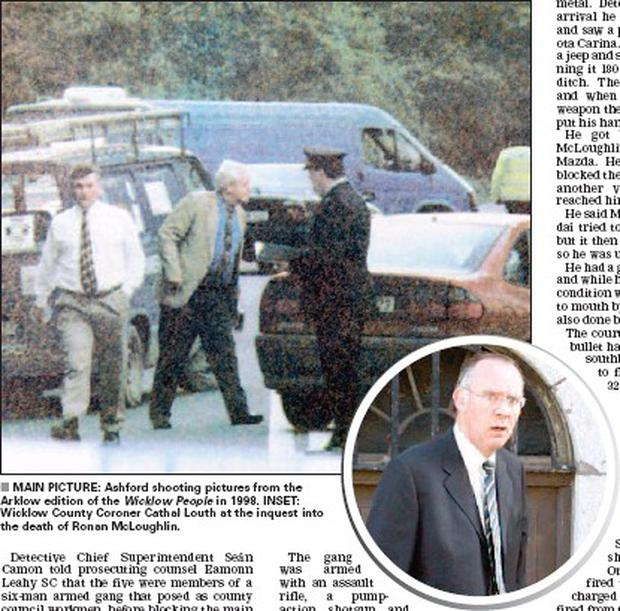 MAIN PICTURE: Ashford shooting pictures from the Arklow edition of the Wicklow People in 1998. INSET: Wicklow County Coroner Cathal Louth at the inquest into the death of Ronan McLoughlin.