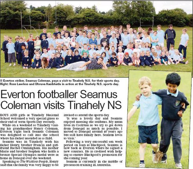 ■ Everton striker, Seamus Coleman, pays a visit to Tinahely N.S. for their sports day. Right: Ross Lawless and Dhruva Kasibhatla in action at the Tinahely N.S. sports day.