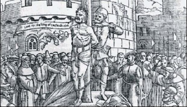 ■ A man being burned at the stake for martyrdom in circumstances similar to those suffered by Black O'Toole.