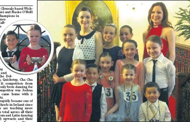 Members of the Wicklow Latin Dance Group who took part in the Irish Championships. Inset: Max Bonici and Naoise O'Neill who won both the U-8 Latin and Ballroom finals.