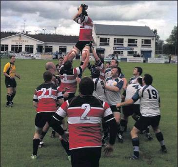 Line-out action during the game between Wicklow and Edenderry.