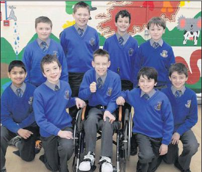 Michael Tiron (centre) with his classmates at St. Cronan's (from back): Rory Whelan, Ben Rowsome, Neil Gorman and Christian Shortt. (Front): Eldmo T Saju, Bredley Slee, Michael, Sean Fitzsimons and Jordan Mortell.