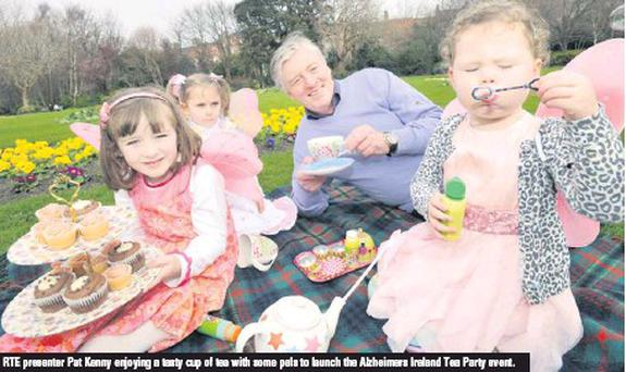 RTE presenter Pat Kenny enjoying a tasty cup of tea with some pals to launch the Alzheimers Ireland Tea Party event.