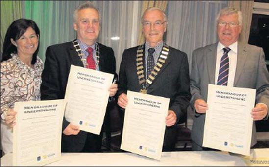 Martina Robinson, Wicklow Chamber of Commerce President Roy Conway; Mayor of Wicklow Pat Byrne and Cllr Mervyn Morrison at the signing of the Memorandum of Understanding between Wicklow Chamber and Wicklow Town Council in the Grand Hotel
