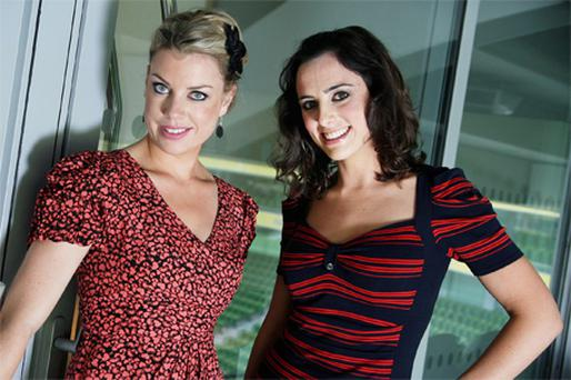 TG4 ladies Sinead Ni Loideain and Roisin Ni Thomain in the Aviva Stadium, Dublin, for the launch of the new schedule yesterday
