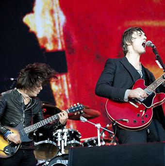 Carl Barat and Pete Doherty of The Libertines reunite at the Leeds Festival