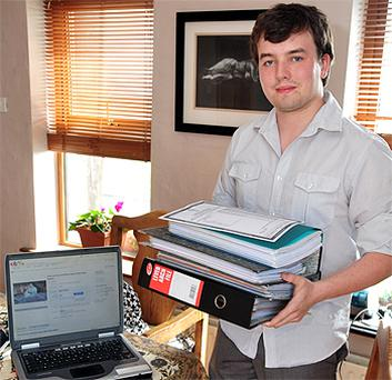 Cillian Fahy, from New Quay, Co Clare, sold his Leaving Cert notes on eBay yesterday for €3,000. Picture: Andrew Downes