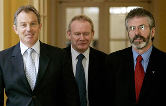 Then British Prime Minister Tony Blair pictured in No 10 Downing Street with Sinn Fein's Martin McGuinness and Gerry Adams