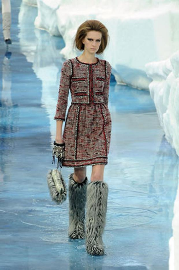 Chanel's Autumn/Winter collection on show at Paris Fahion week, it has been inspired by 'global cooling'.