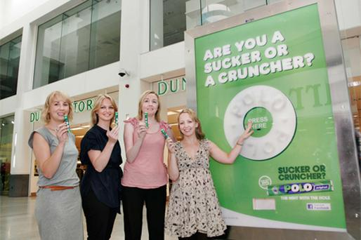 Launching the Polo Mint ad campaign were. from left, Sarah Fallon, account executive at CBS Outdoor; Amanda Finnegan, client services executive at Source OOH; Sandra Doyle, retail & transit sales manager at CBS Outdoor, and Emma Daly, senior account manager, Mindshare