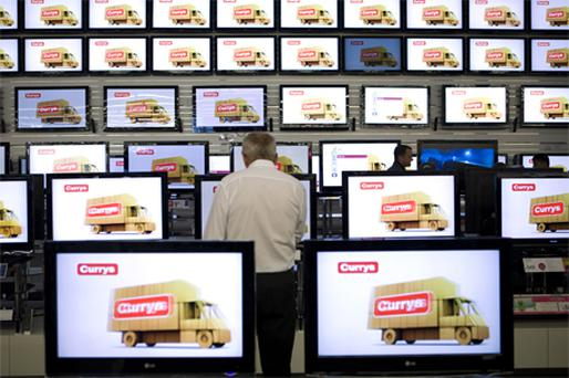 Currys: TV sales rose in the run up to the World Cup. Photo: Bloomberg News