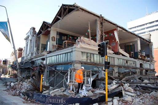 EARTHQUAKE: A damaged building yesterday in central Christchurch, New Zealand
