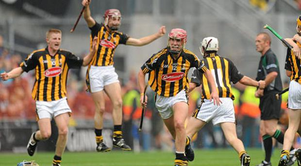 Kilkenny captain Cillian Buckley, 12, leads the celebrations after the final whistle of yesterday's ESB All-Ireland Minor Hurling Final. Photo: Matt Browne / Sportsfile
