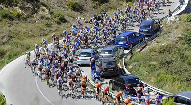A pack of riders on one of the climbs during the ninth stage of the Tour of Spain between Calpe and Alcoy yesterday. Photo: Reuters