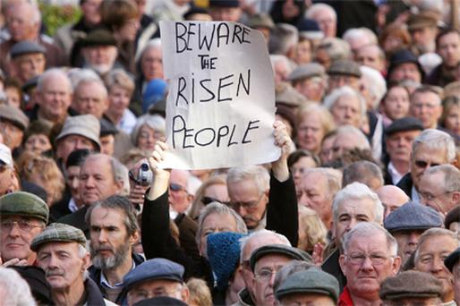 A protest over medical cards outside the Dail in 2008. The over 65s have many questions they want answered about the state pension and they're not afraid to make themselves heard