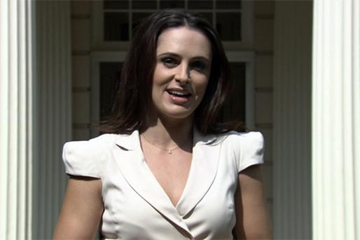 Grainne Seoige delivers her live segment from Clarence House, London, during the first broadcast of 'Daybreak' on ITV yesterday