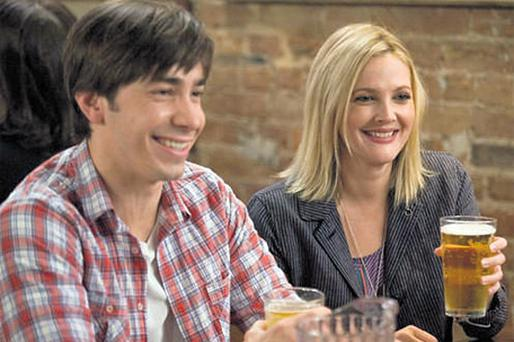 SHARING A LAUGH: Justin Long and Drew Barrymore ad-libbed in 'Going The Distance'