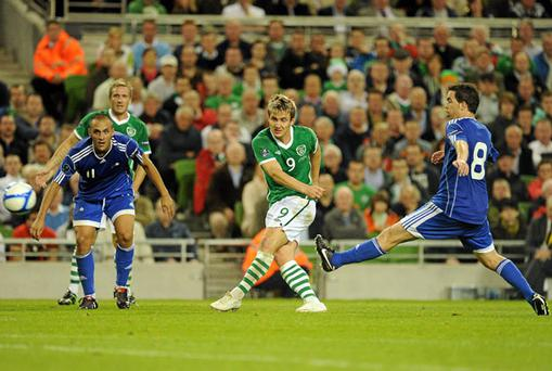 Kevin Doyle fires home Ireland's second goal against Andorra during last night's Euro 2012 qualifier. Photo: Brendan Moran / Sportsfile