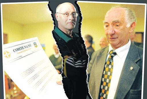 Meath chairman Barney Allen shows the statement in which no replay was offered to Louth by the county board, which is now divided over the sacking of team manager Eamonn O'Brien (centre).